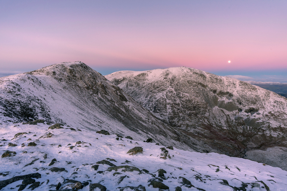 Moonrise over Dow Crag and the Old Man of Coniston.